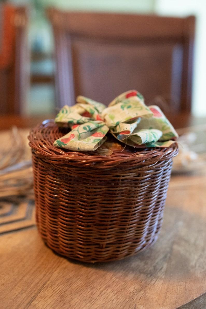 Vintage Wicker Basket w Strawberry Ribbon