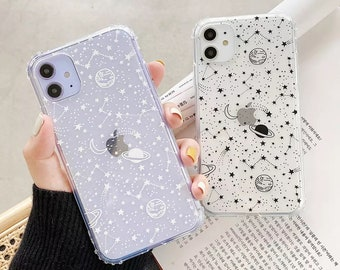 iPhone Outer Space Planet Stars Moon Spaceship Phone Case For iPhone 12 mini 11 Pro Max XR XS Max 8 7 plus SE 2 Cases Soft Clear Cover