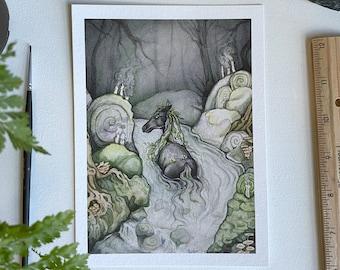 Kelpie Print, Whimsical Illustration, Fantasy Art, Scottish Folklore