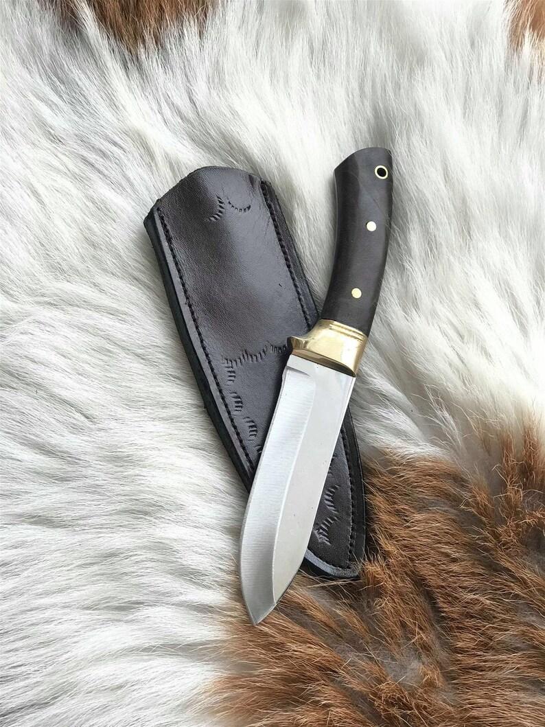 Custom Made Bushcraft Blade with Leather Sheath Blade Survival Sword Kukri Camp and Machete handmade Knives machete sheath Walnut Handle