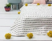 POMPOM BLANKET Throw for Sofa or Bed - Hand Woven Cotton - Reversible, Hand Wash, Black and white stripes with Mustard pompoms