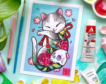 Ukiyo-e Irezumi Tattoo Neko Cat with Cherry Blossoms and Skull PRINT by Michelle Coffee