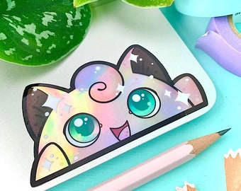 HOLOGRAPHIC Singing Puffball Video Game Anime Peeker STICKER by Michelle Coffee