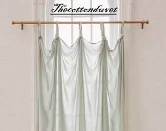 Green cotton drapery hanging, Handmade panel with knotted loops Window Curtain,  Window Treatment, Blackout Curtains Drapery 1 Panel Curtain