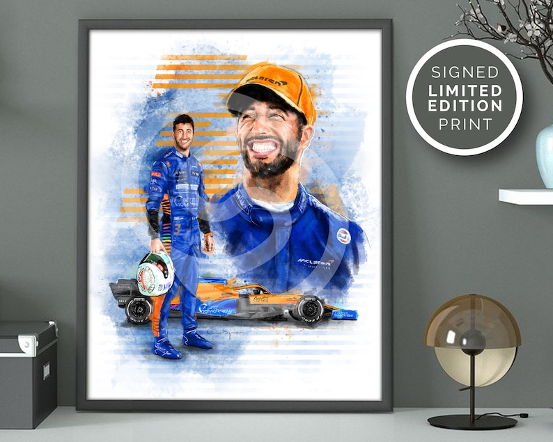 Daniel Ricciardo Print. McLaren F1 Driver. Original Hand Drawn image 0