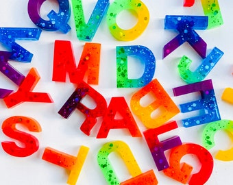 Resin, Multicolour, Rainbow, Arc-en-ciel, Epoxy, Letter set, Resin Letter Set, Uppercase, Lowercase, Numbers, Alphabet, Learning Through Pla