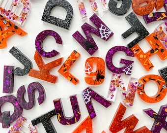 Halloween, Halloween Theme, Corn Candy, Resin, Epoxy, Letter set, Uppercase, Lowercase, Numbers, Alphabet, Learning Through Play, Children