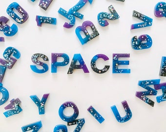 Space Theme, Resin, Resin Alphabet set, Epoxy, Letter set, Uppercase, Lowercase, Numbers, Alphabet, Learning Through Play, Children, Gift