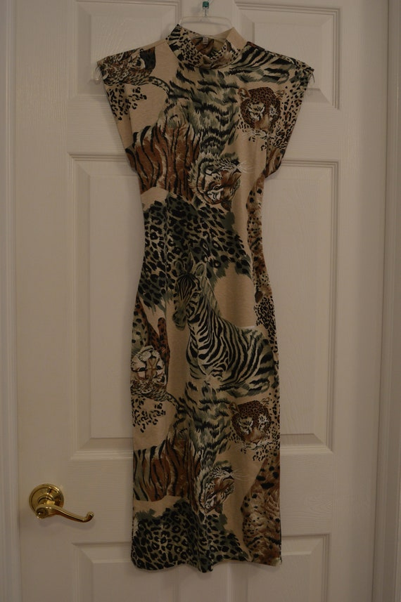 Vintage Animal Print Open Back Dress by All That J