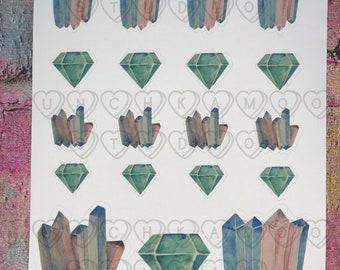 3 Sheets Gemstones Sicker Sheet Set Planner Gems Sticker Set  Geometric Jewels DS002