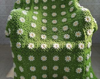Daisy Crochet Throw Blanket,Bedroom Blanket, Living Room Blanket,Wedding Blanket, Baby Blanket,Granny Square Throw Blanket