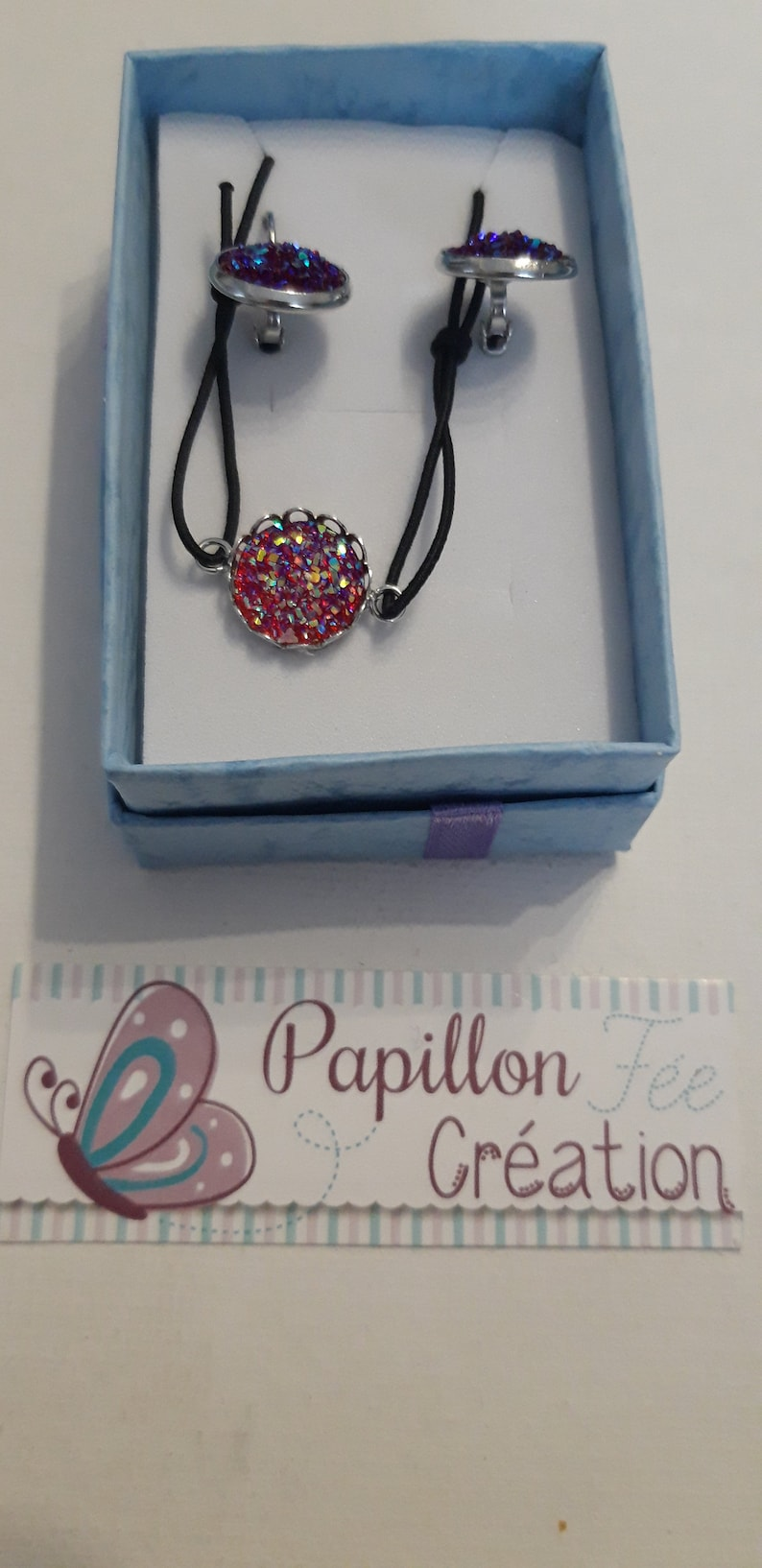 Jewelry jewelry cases cabochons earrings and bracelet ton fushia
