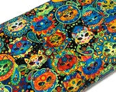Exotic Colorful Cat Fabric by the YARD. Assorted Bright Colored Sugar Skull Fancy Cat Faces. 100 Cotton for Quilting, Apparel, Home Décor.