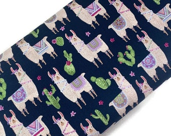 Llamas on Navy Blue Print Fabric by the Yard. Fancy Alpacas & Cactus from Dear Stella Fabrics 100% Cotton for Quilting, Clothing, Home Décor