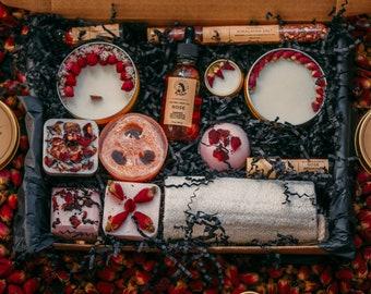 Gift basket, rose spa. Organic gift basket