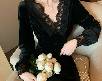 Vintage dress Regina, Vintage French dress, vintage dress, gothic, cottagecore dress, French dress, gothic dress, 1940s, velvet
