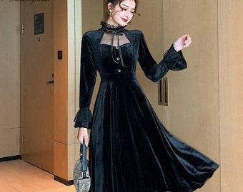 Vintage Ophelia Dress, Vintage French Dress, Vintage Dress, Gothic, Cottagecore Dress, French Dress, Gothic Dress, 1940s, Velvet