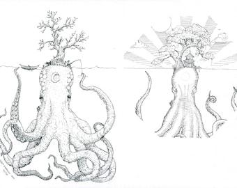 Kraken Islands | Digital Download | Fantasy Octopus ink drawing (or Kraken Tattoo Design)