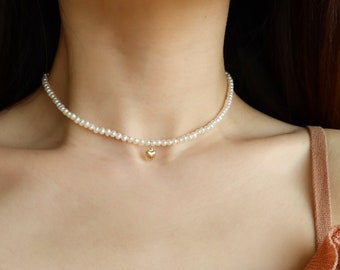 Freshwater Pearl Beaded Choker with Gold Filled Puffy Heart | Pearl Beaded Necklace |Vintage Style Pearl Choker Necklace