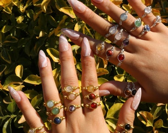 Dainty Silver Crystal Rings, Cute Gemstone Rings, Stacking Rings, Wire Wrapped Rings + FREE Random Crystal