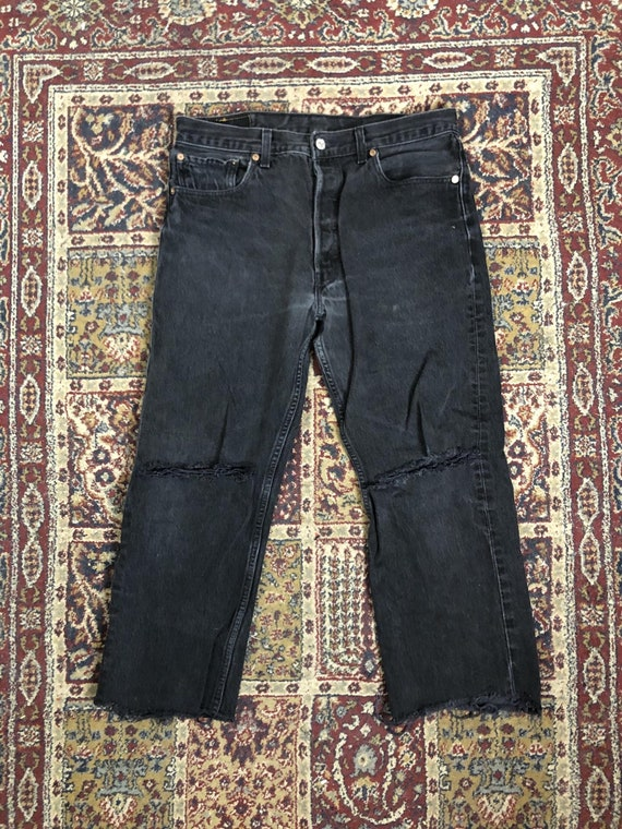 Vintage Levi's 501 Distressed Cropped Black Jeans