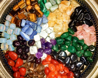 Crystals, Gemstones (55 Variations - A Grade), Tumbled Gemstones, Gemstones, Crystals Australia, Includes Crystal Information Card and Pouch