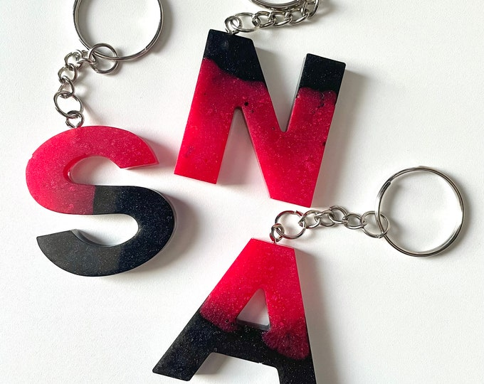 Hot Pink and Black Letter Keychain