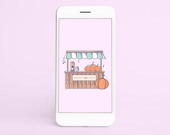 Kawaii Halloween Wallpaper   Pumpkin and Coffee Shop   Mobile Phone Wallpaper Smartphone Digital Download Wallpaper