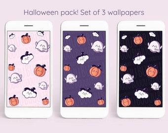 Kawaii Ghost Halloween Wallpapers   Set of 3   Mobile Phone Wallpaper Smartphone Digital Download Wallpaper Pack