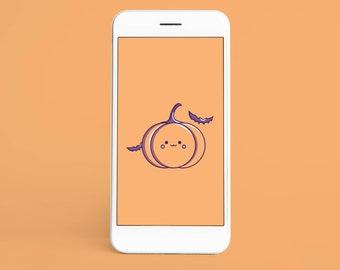 Kawaii Halloween Wallpaper   Mobile Phone Wallpaper   Smartphone Wallpaper Digital Download Cute Wallpapers, Funny Wallpapers Food Pumpkin