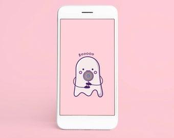 Kawaii Ghost Halloween Wallpaper   Lollipop   Mobile Phone Wallpaper Smartphone Digital Download Wallpaper