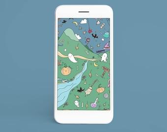 Kawaii Halloween Wallpaper   Ghost Pumpkin Candy   Mobile Phone Wallpaper Smartphone Digital Download Wallpaper