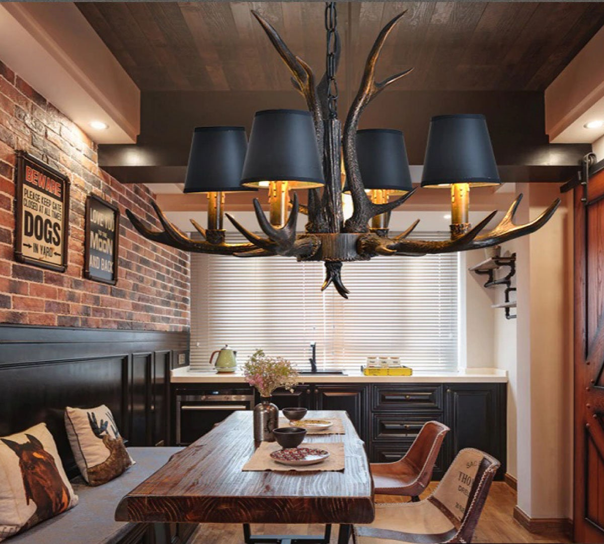 WL-11117 American Country Retro style Antler Resin Chandelier Lamp for Modern Dining Room Luminaire Living Room LED Decorative lights