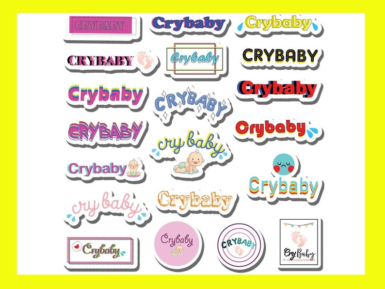20 PCS Stickers Pack Crybaby Aesthetic Vinyl Colorful Waterproof for Water Bottle Laptop Bumper Car Bike Luggage Guitar Skateboard