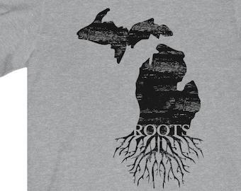 Michigan Roots T-Shirt | Bella+Canvas | Unisex Short Sleeve | Michigan Clothing