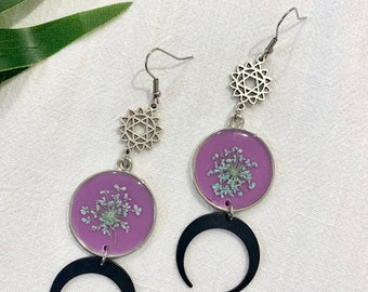Mint and mauve real flower earrings , resin earrings , chunky moon earrings , crescent moon earrings , gift for her , moon and stars ,
