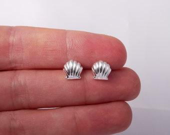 Sterling Silver Seashell Stud Earrings