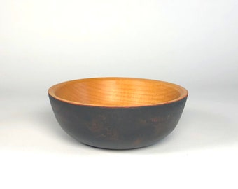 Cherry Wooden Bowl with Black and Red Painted Exterior