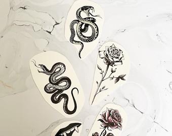 Grunge Style Temporary Tattoos/ Snake, Flower, Rose, Vampire