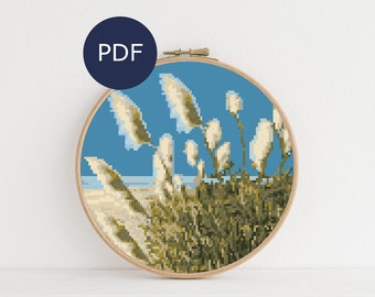 Beach Toetoe (Toitoi) Cross Stitch PDF Pattern, Instant Download, New Zealand Landscape, Modern Nature Cross Stitch NZ