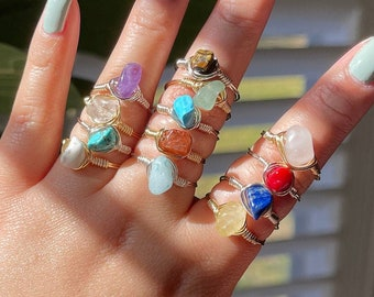 Spiritual Rings, Crystal Rings,Crystal Wire Rings Wrapped Gemstone Rings