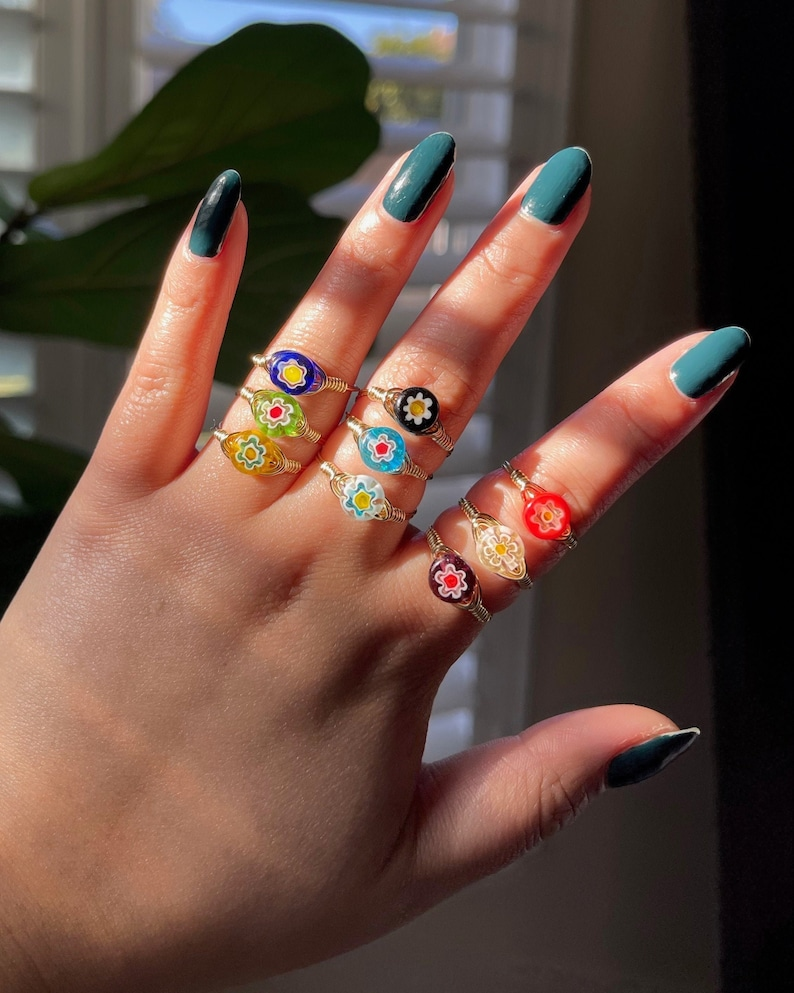 Dainty Ring Glass Flower Bead Colorful Ring Flower Ring GOLD Flower Millefiori Wire Wrapped Ring Handmade Ring Customizable Size