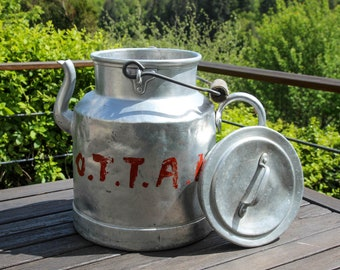 Rare vintage large French aluminium milk can with wooden handle and spout