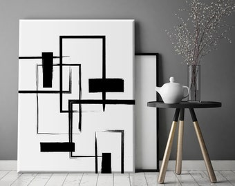 Black And White Canvas Art Etsy