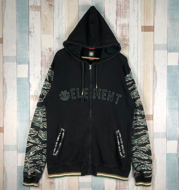 Vintage Element Camouflage Sleeve Zip Up Hoodie