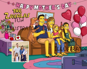 1[DIGITAL ONLY] Family Simpsons Caricature On Couch, the simpson portrait, simpson caricature drawing, funny family drawing, father's day