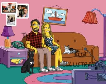 1[DIGITAL ONLY] Simpsons Caricature, the simpson portrait, gift, Cartoon llustration, simpson caricature drawing, Simpsons family portrait