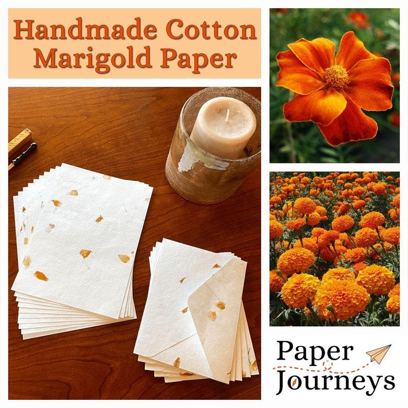 Handmade Stationery Floral Paper Cotton Paper Flower Paper Weddings, Handmade Paper and Envelopes Handmade Envelopes Marigold Paper
