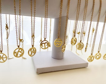Zodiac sign Necklace | stainless steel | non tarnish | zodiac | bridesmaid gifts | gold
