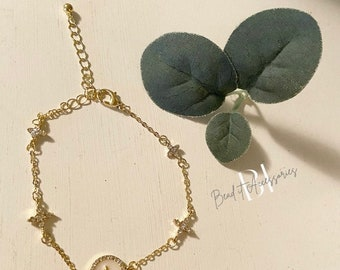 Gold & White Four clover bracelet /cubic zirconia/natural shell stone | gift | bride | bridesmaid